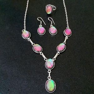 Pink Opal Sterling Silver Necklace Earrings Ring